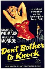 VINTAGE DON'T BOTHER TO KNOCK MOVIE POSTER A3 PRINT