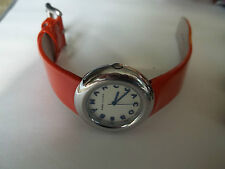 "MARC JACOBS watch.orange leather band,silver tone,case 1 1/4"",excellent working"