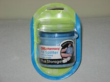 NEW CVS PHARMACY PILL SPLITTER WITH RECESSED SAFETY BLADE + STORAGE CONTAINER