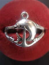 BAGUE VINTAGE 1970 ARGENT  MOTIF DAUPHINS NEUF T.57/ NEW OLD SILVER RING DOLPHIN