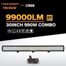 "8D Tri-Row 30""Inch 990W Led Work Light Bar Spot Flood Offroad 4WD Truck SUV ATV"
