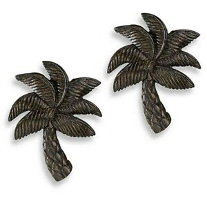 Palm Tree Finials Cambria Matte Brown Set of 2 For Curtain Rods Beach Summer