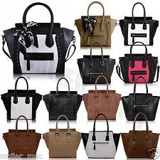 Womens Tote Handbag Designer Ladies Faux Leather Style Celebrity Black Smile Bag
