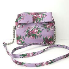 NEW Betsey Johnson Purple Pink Bow Dome Crossbody Floral Roses Purse Bag Chic