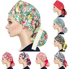 Details about  /Women Ladies Nurse Doctor Scrub Cap Bouffant Hat with Buttons /& 10 Hair Ropes