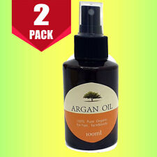 2 x 100ml Moroccan 100% Cold Pressed Pure Natural Certifed Organic Argan Oil
