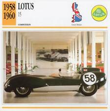 1958-1960 LOTUS 15 Racing Classic Car Photo/Info Maxi Card