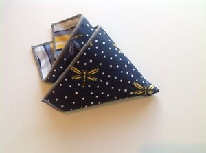 NEW Pocket Square Dragonfly Blue Yellow Gray Reversible Gift Trim