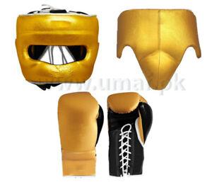 New Custom Made W1NN1NG, Gold, Boxing Gloves, Head Gear, Groin Guard,