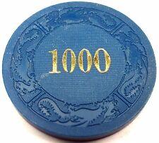 Vintage DRAGON MOLD Poker Casino Chip Hot Stamped $1000 Blue