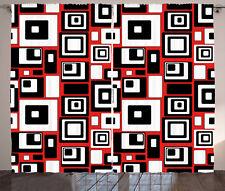 Abstract Curtains Minimalist Retro Artsy Window Drapes 2 Panel Set 108x84 Inches