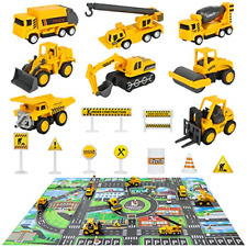 Construction Vehicles Truck Toys Set with Play Mat - 8 Mini Engineer Diecast &
