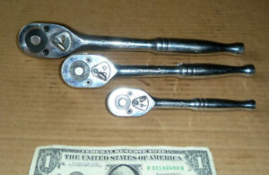 """Vintage 3 Crescent 1/2"""",3/8"""",1/4"""" Socket,Ratchet Drive Wrench,Quick Release Tool"""