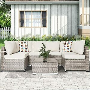 7 Pieces Patio Furniture Rattan Wicker Sofa Set Outdoor Sectional Lounge Setting