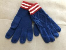 Mini Boden Mittens Gloves Knit Boys size L Blue Red