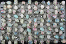Mixed Lots 46pcs big cloth resin assorted silver plated lady's rings EH189