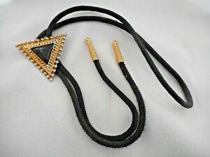 Vtg Bolo Tie Gold Tone Triangle w/Black Enamel Center Fabric Cord Gold tone Tips