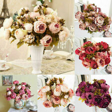 13 Heads Vintage Artificial Fake Peony Silk Flowers Bouquet Party Home Decor UK