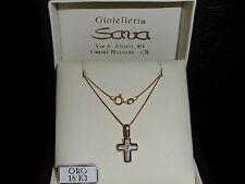 Collana veneziana e ciondolo croce con diamante e madreperla in oro 750 18 kt