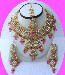 Gold Plated Kundan Zirconic Bollywood Pink Necklace Earrings Tikka Jewelry Set