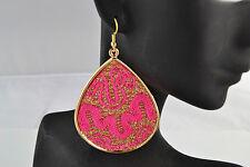 Pink Fabric & Gold Tone Drop Earrings