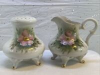 Antique Footed Muffineer Sugar Shaker & Creamer, Handpainted & Signed D