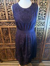 John Rocha Navy Blue beaded Summer Dress Size 12