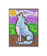 HOWLING AT THE MOON~BEADED BANNER PATTERN ONLY