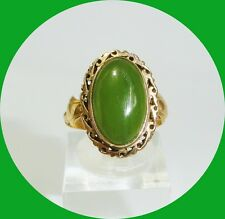 Unique Vintage 18kt Yellow Gold Oval Jade Ring-- Size 6.5