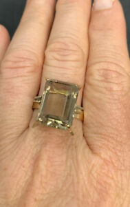 Vintage 1960s, Solid Yellow Gold & Large Natural Citrine Cocktail Dress Ring.