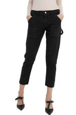 Citizens of Humanity Women's Leah Low-Rise Cotton Crop Cargo Black Pant