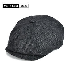 Grey Wool Tweed Herringbone NewsBoy Cap Gatsby Baker Boy Flat Cap