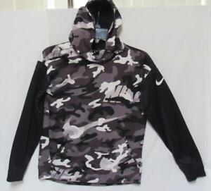 NIKE Dri-Fit Kids Boys Gray Black Camouflage Pullover Hoodie Size Large (14-16)