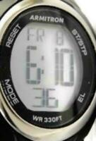 Armitron Digital Quartz WR 330ft Black Silicone Day Date Pro Sport Watch Woman's