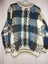 Hand Made Size XL Heavyweight 100% wool Sweater Multi - color by Runa Maki