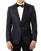 Tallia Mens Suit Seperate Blue Size 42 Long Slim Fit Snake-Print Jacket $350 305