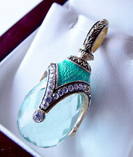 SALE ! AMAZING RUSSIAN EGG PENDANT HANDMADE OF STERLING SILVER 925 w/ AQUAMARINE