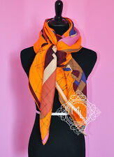 HERMES CASHMERE 140 GM ECHEC AU ROI CARRE ORANGE MAUVE PINK SHAWL SCARF WRAP NEW