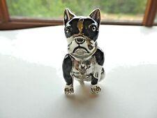 Shiny Silver Tone Black Enamel  Clear Rhinestone French Bull Dog Brooch