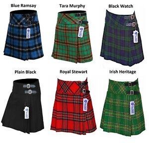 Ladies Women's Girls 6 Tartan Pleated Billie Kilt Skirt Leather Straps 19'' drop