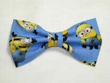 Cartoon Bow tie, Yellow henchmen on Blue, Birthday Smash Cake, Pre-tied Bow tie