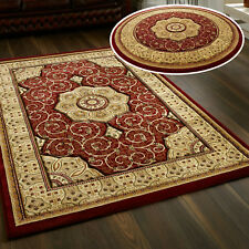 SMALL- LARGE TRADITIONAL CLASSIC THICK SOFT HERITAGE 4400 RED RUNNERS CIRCLE RUG