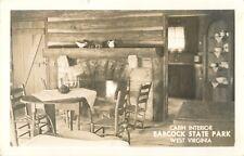 Cabin Interior, Babcock State Park, West Virginia WV RPPC 1957