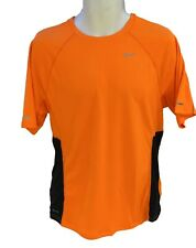 New NIKE RUNNING Mens DriFit Stay Cool Ventilated Gym Top Shirt Neon Orange M