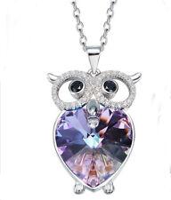 Eule Herz Halskette Owl Anhänger mit Swarovski® Kristallen Lila 18K Weißgold pl