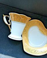 Fine Italian Design Porcelain Gold on Gold Espresso Demitasse Cup & Saucer Heart