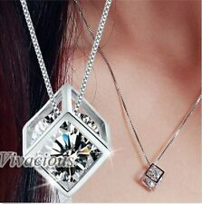 Stunning Magic Cube Silver Crystal Chain Necklace Pendant Charm