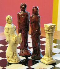 GODS OF MYTHOLOGY CHESS MEN - TALL 5 INCH SET W/ ZUES & APHRODITE (rosewood) 616