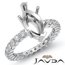 Diamond Engagement Eternity Style Ring Marquise Semi Mount 18k White Gold 0.8Ct