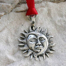 SUN MOON FACE LUNAR Pewter Christmas ORNAMENT Holiday